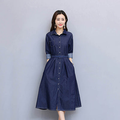 3/4 Length Sleeve Belted Feminine Plain Dress