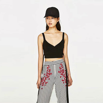 High Rise Wide Leg Funky Striped Pants