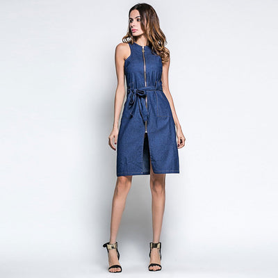 Sleeveless Zipper Basic Plain Dress