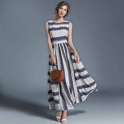 Sleeveless Round Neck Pretty Tribal Print Dress