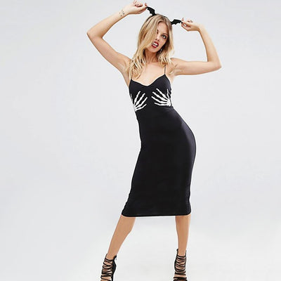 Sleeveless Spaghetti Strap Sexy Graphic Print Dress