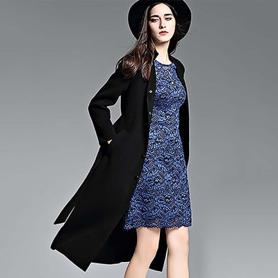 Long Sleeve Belted Classic Plain Car Coat