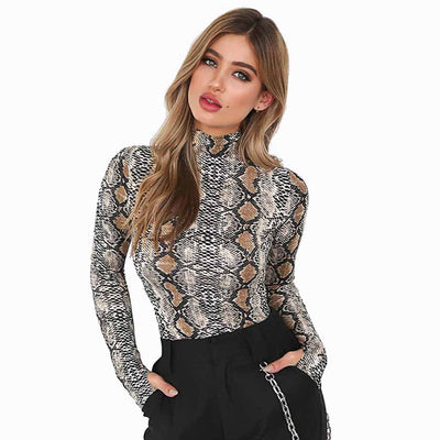 Long Sleeve High Neck Wild Animal Print T-Shirt