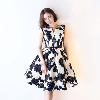 Sleeveless Bow Retro Floral Print Dress