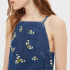 Sleeveless Zipper Girly Floral Embroidery Dress