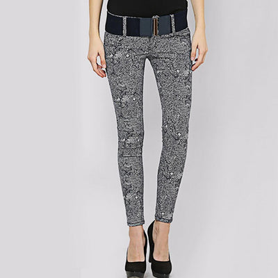 Medium Rise Skinny Fit Rocking Abstract Print Jeans