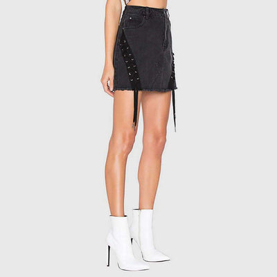 Regular Waist Eyelet Rocking Plain Skirt