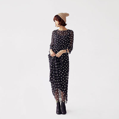 3/4 Length Sleeve Round Neck Feminine Polka Dot Dress