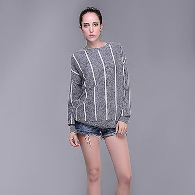 Batwing Sleeve Round Neck Sporty Striped Sweater