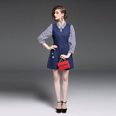 Long Sleeve Peter Pan Collar Cute Plain Dress
