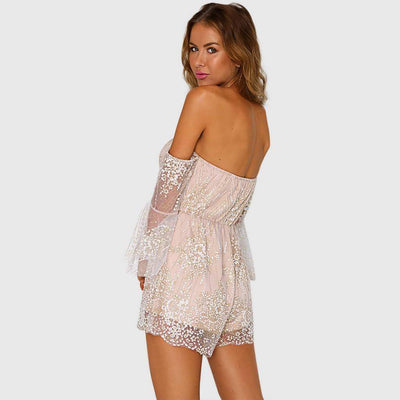 Bell Sleeve Sequin Girly Floral Embroidery Playsuit