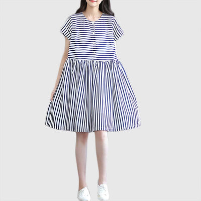 Short Sleeve Button Nautical Striped Dress