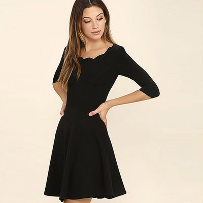 Half Sleeve Sweetheart Neck Basic Plain Dress