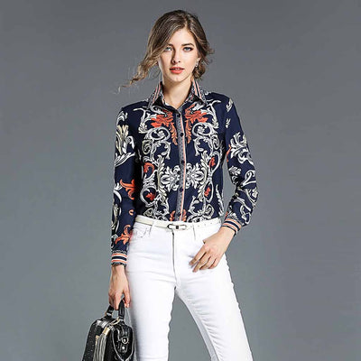Cuff Sleeve Shirt Collar Retro Abstract Print Shirt