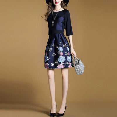 Half Sleeve Round Neck Sweet Floral Print Dress