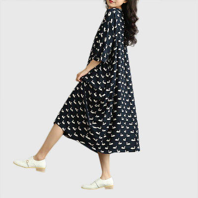 3/4 Length Sleeve Round Neck Kitsch Bird Print Dress