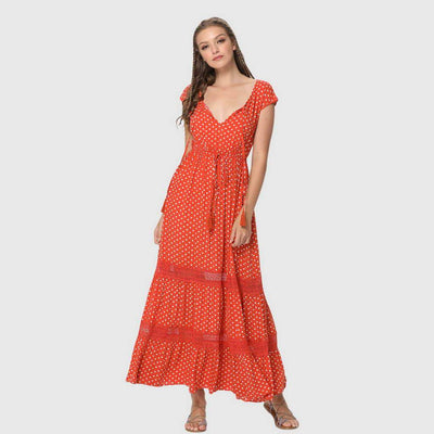 Cap Sleeve V Neck Tassels Polka Dot Gypsy Long Dress