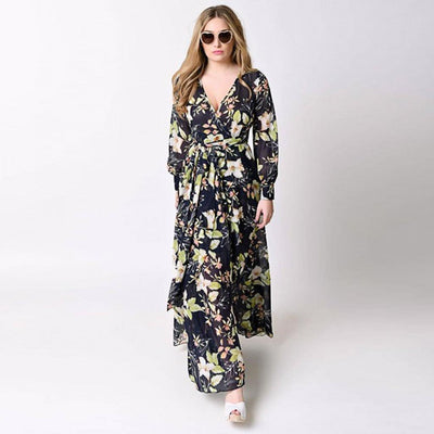 Cuff Sleeve Deep V Neck Hippy Floral Print Dress