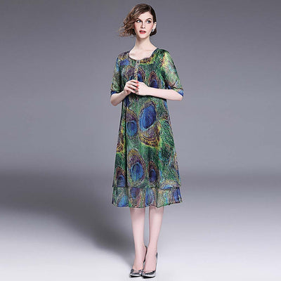 Half Sleeve Round Neck Whimsical Natural Print Dress