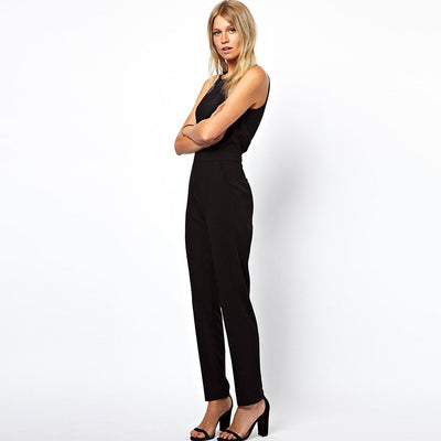Sleeveless Scoop Neck Sexy Plain Jumpsuit