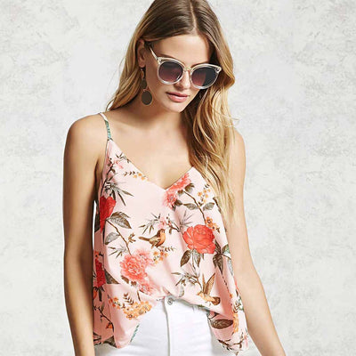 Sleeveless Spaghetti Strap Chic Floral Print Camisole
