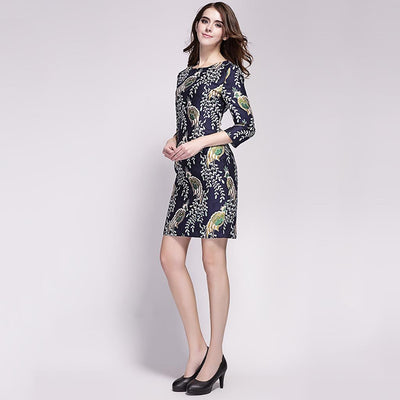 3/4 Length Sleeve Boat Neck Oriental Natural Print Dress