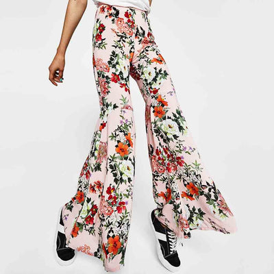 Regular Waist Flared Feminine Floral Print Pants