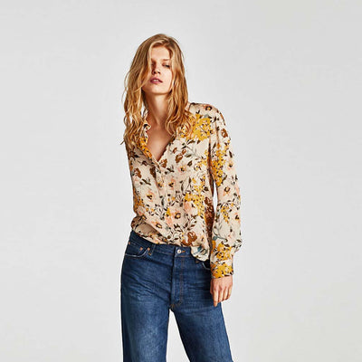 Cuff Sleeve Shirt Collar Stylish Floral Print Shirt