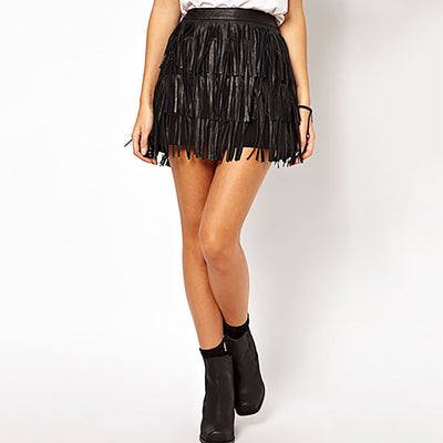 Regular Waist Fringed Funky Plain Skirt