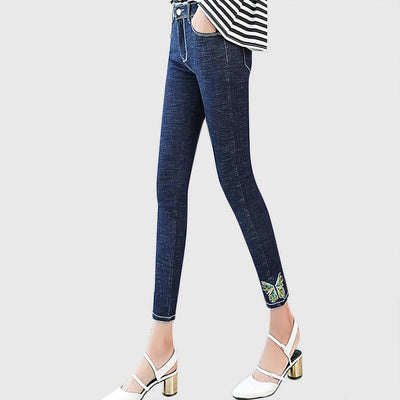 Medium Rise Applique Flattering Tribal Embroidery Jeans