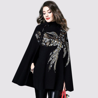 Sleeveless Rhinestone Elegant Plain Cape