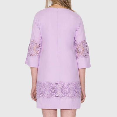3/4 Length Sleeve Crochet Girly Floral Embroidery Dress