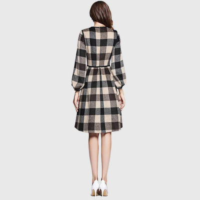 Long Sleeve Piping Chic Plaid Dress