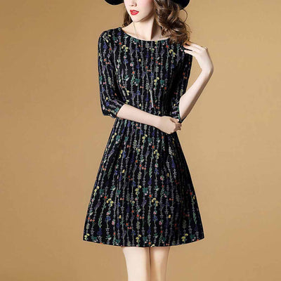 3/4 Length Sleeve Round Neck Edgy Floral Print Dress
