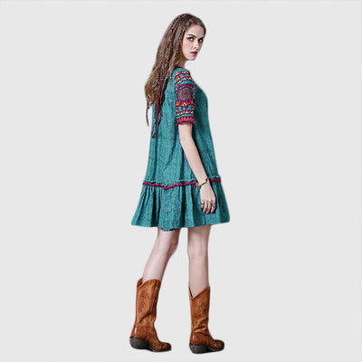 Short Sleeve Tasseled Hippy Tribal Embroidery Dress