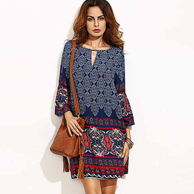 Bell Sleeve Round Neck Hippy Tribal Print Dress