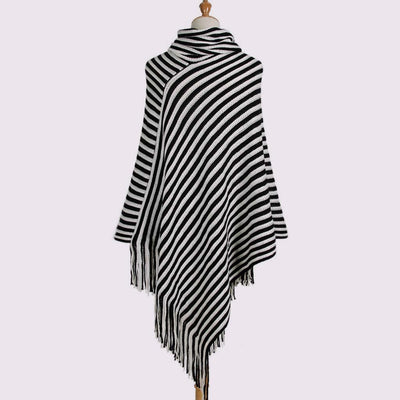 Batwing Sleeve Cowl Neck Stylish Striped Poncho