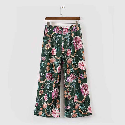 Regular Waist Wide Leg Kitsch Floral Print Pants