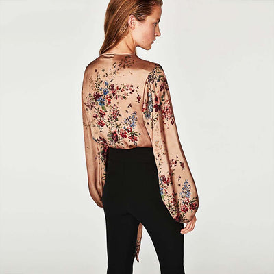 Puff Sleeve Bow Flirty Floral Print Bodysuit