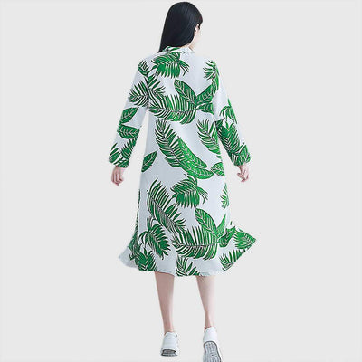 3/4 Length Sleeve Frogging Tropical Natural Print Dress