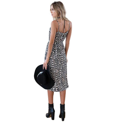 Sleeveless Spaghetti Strap Cool Tribal Print Dress
