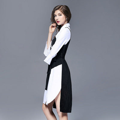 Trumpet Sleeve Belted Edgy Color Block Dress