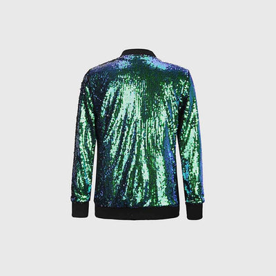Cuff Sleeve Sequin Sparkly Plain Jacket