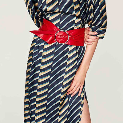 Half Sleeve High Neck Retro Geometric Print Dress