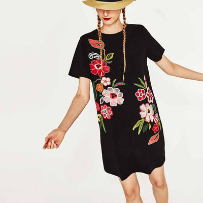 Short Sleeve Round Neck Pretty Floral Print Dress
