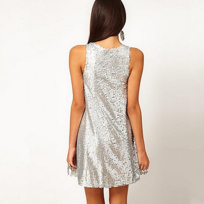 Sleeveless Sequin Sparkly Plain Party Dress