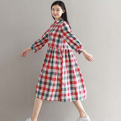 Long Sleeve Peter Pan Collar Flattering Plaid Dress