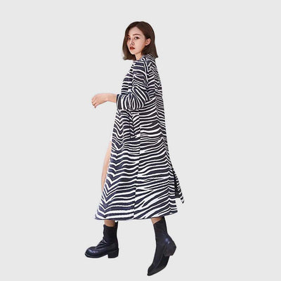 Bracelet Sleeve High Neck Striking Animal Print Coat