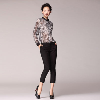 Long Sleeve Collarless Modern Animal Print Shirt