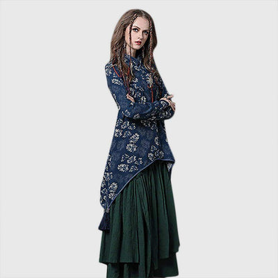 Long Sleeve Tasseled Oriental Natural Print Shirt